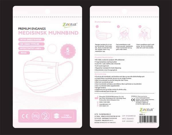 Bilde av Munnbind kirurgisk Zogear IIR 3-lags Rosa 5pk