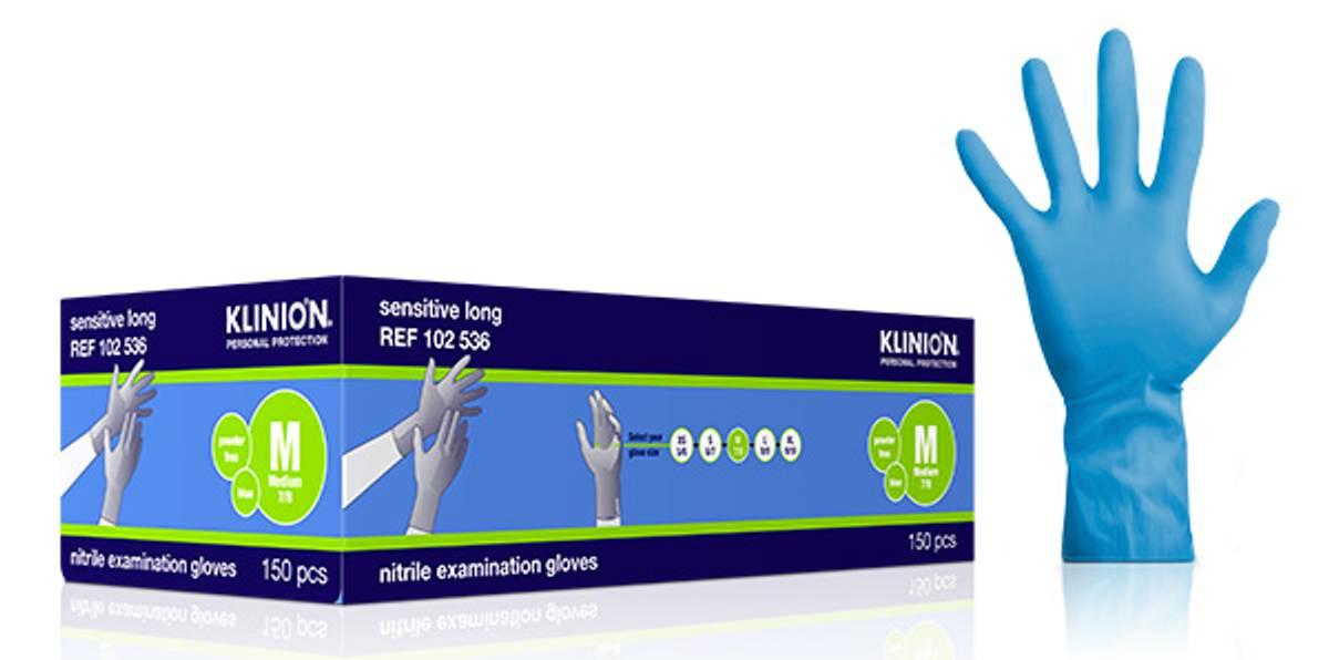 Hanske nitril Klinion Sensitive lang 290mm M blå 150pk