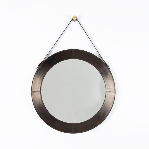 Rundt speil, skinn med stropp – Halvor Bakke