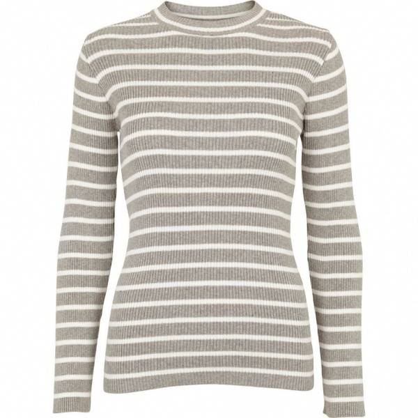 Basic apparel, Amanda genser stripe light grey/off white