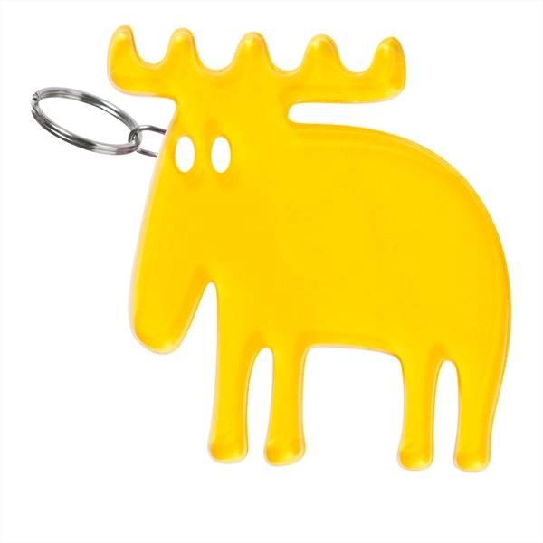 Moz, nøkkelring, elg i gul pleksiglass