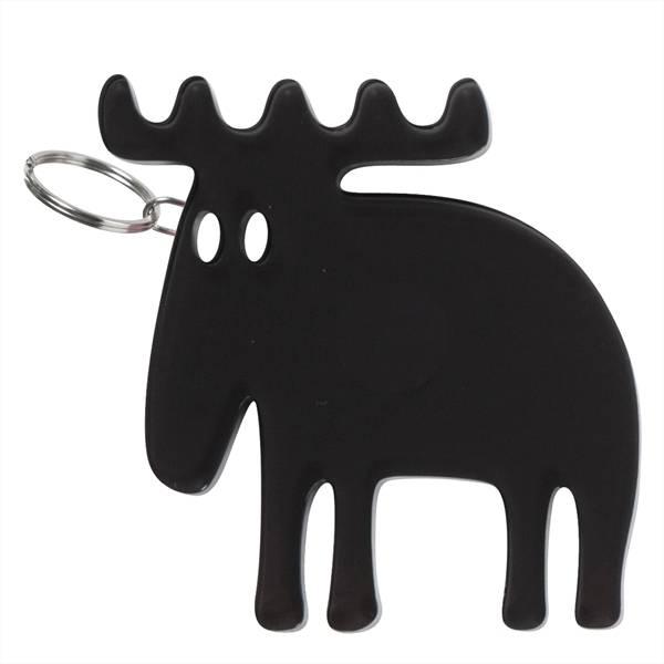 Moz, nøkkelring, elg i grått pleksiglass
