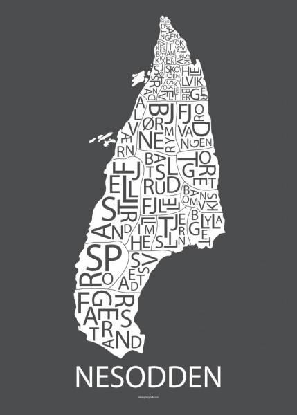 Designbyodd, Plakat Nesodden  (hvit/grå bakgrunn)