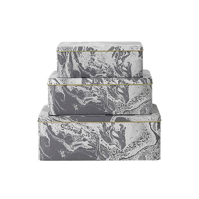 Bilde av Tin Boxes - Marble 3 stk