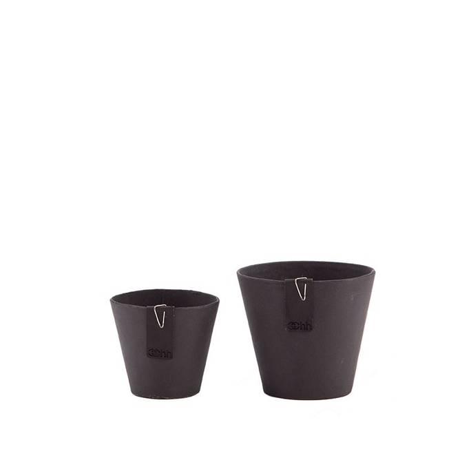 Bilde av Set of 2 Lotus pots, Black