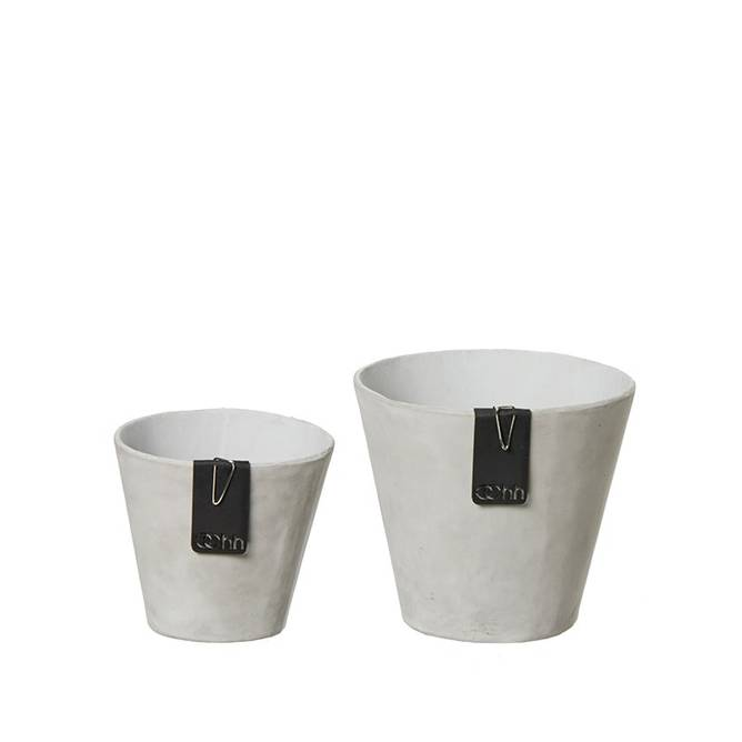 Bilde av Set of 2 Lotus pots w/cement