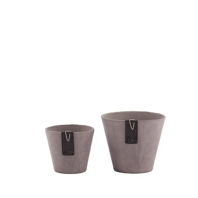 Bilde av Set of 2 Lotus pots, Taupe
