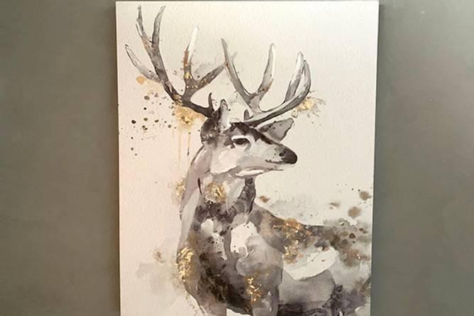 Bilde av Lerretsbilde hjort på hvit