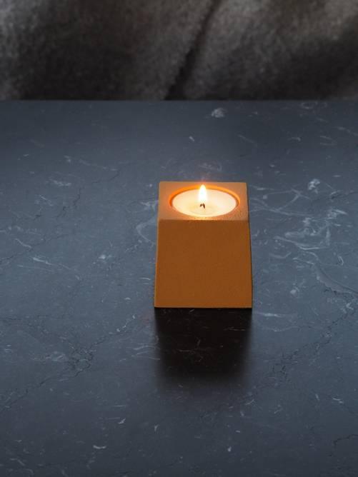 Bilde av Cube t-lysholder gul