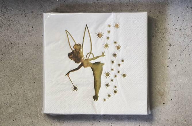 Bilde av Serviett hvit m gull