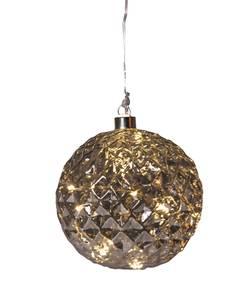 Bilde av Juletrekule m/LED grå 12cm