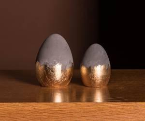 Bilde av Egg betong grå/gull H8 cm