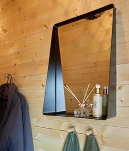 Bilde av Speil med hylle svart 40x60