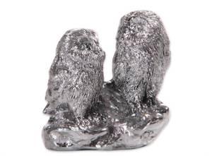 Bilde av 2 ugler sølv 6x2,5x5,5