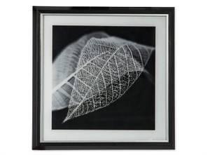 Bilde av Bilde m/ramme løv svart/grå 40x40