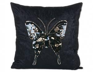 Bilde av Sommerfugl svart putetrekk 45x45 cm