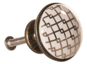 Bilde av Dørknott/knotter gull m/mønster 3x2,5