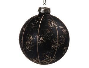 Bilde av Juletrekule svart/gull 8cm