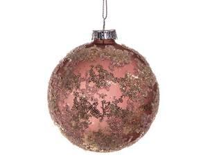 Bilde av Juletrekule rosa/gull 8cm