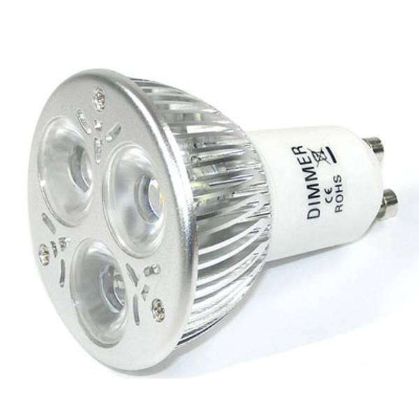 GU10 varmhvit, 3x1W LED pære, AC230 dimbar - 240 lumen