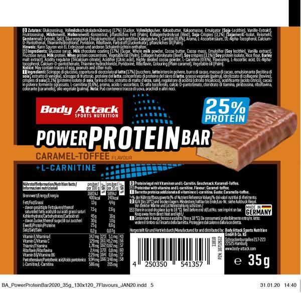 Bilde av Body Attack - Power Proteinbar - Caramel-Toffee (12x35g)
