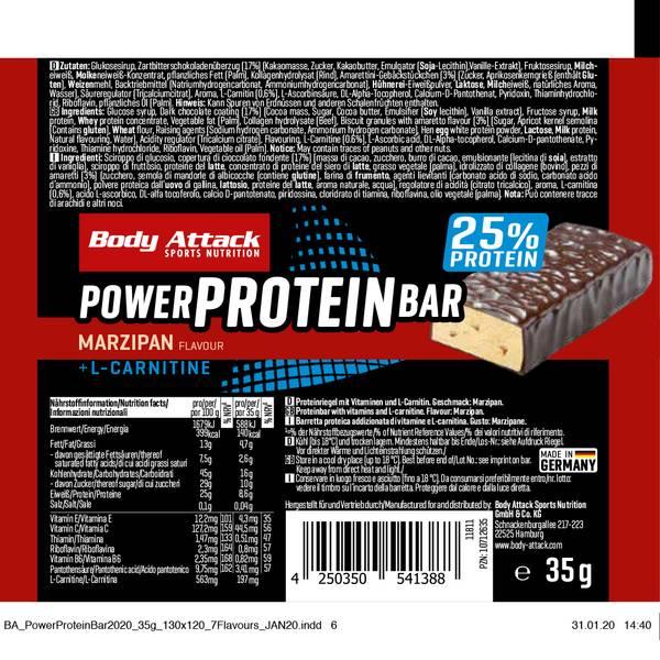 Bilde av Body Attack - Power Proteinbar - Marzipan (12x35g)