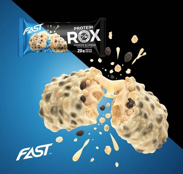 Bilde av FAST - Rox Proteinbar - Cookies & Cream White Choco Crisp 55g