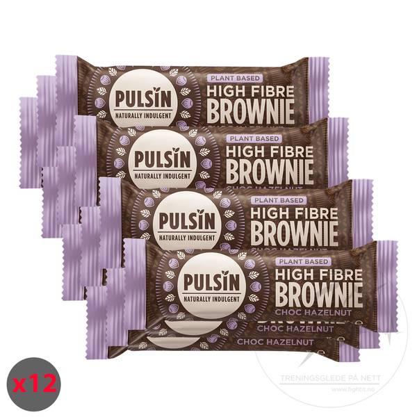 Bilde av Pulsin High Fibre Brownie - Choc Hazelnut (12x35g)