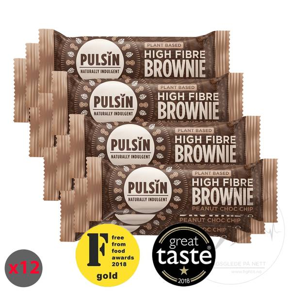 Bilde av Pulsin High Fibre Brownie - Peanut Choc Chip (12x35g)