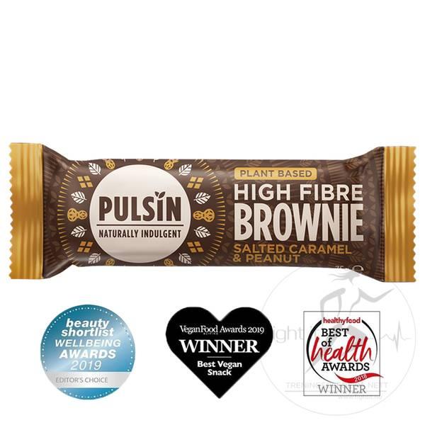 Bilde av Pulsin High Fibre Brownie - Salted Caramel & Peanut (12x35g)