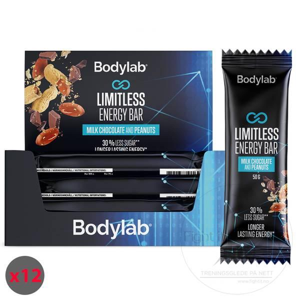 Bilde av Bodylab Limitless Energy Bar - Milk Chocolate & Peanuts (12x50g)