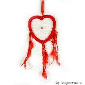 Bilde av Drømmefanger: Hjerteformet, 1 ring, frotté, rød 13cm