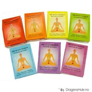 Bilde av Røkelse:  Chahat 7 Chakras kjegler samlepakke
