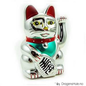 Bilde av Lykkekatt: Maneki Neko sølvfarget, 15cm