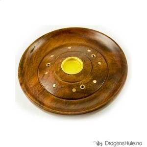 Bilde av Røkelsesfat: Sirkler, rund m/ messingdetaljer -10cm
