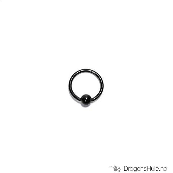 Piercing: Ball Closure Ring, 4mm ball, 1,0/10mm ring -black stee