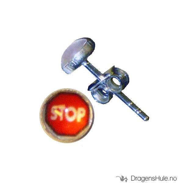 Ørepynt: Bilde Stoppskilt -5mm Sølv (par)