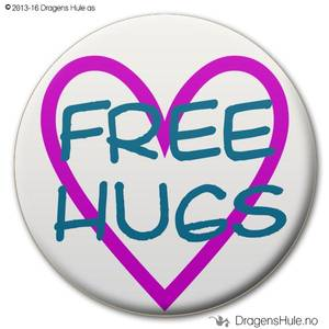 Bilde av  Button: Free Hugs i hjerte C