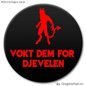 Bilde av  Button: Vokt Dem for Djevelen (velg farge)