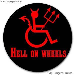 Bilde av  Button: Hell on Wheels (velg farge)