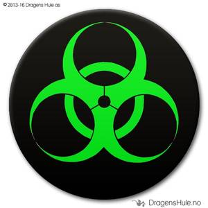 Bilde av  Button: Biohazard på svart (velg farge)