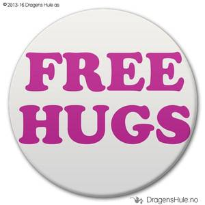 Bilde av  Button: Free Hugs B (velg farge)