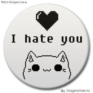 Bilde av  Button: I Hate You Heart Cat (velg farge)