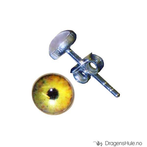 Ørepynt: Bilde Det onde øye gul -5mm Sølv (par)