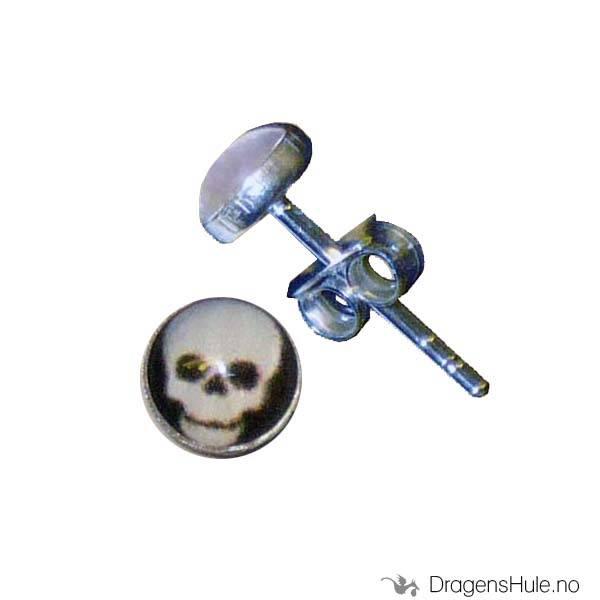 Ørepynt: Bilde Dødningehode -5mm Sølv (par)