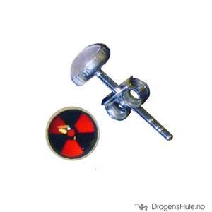 Bilde av Ørepynt: Bilde Radioaktiv rød -5mm Sølv (par)