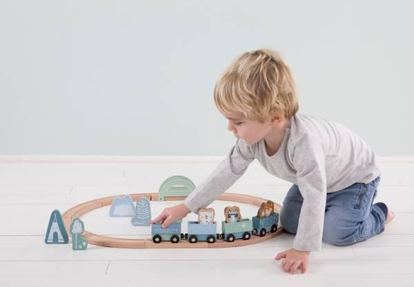 Bilde av Little Dutch togbane til barn i tre, blå