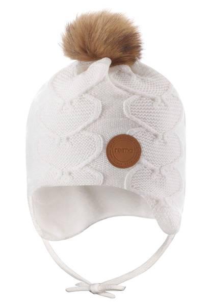 Bilde av Reima ullue med hjerter og knyting til barn, hvit