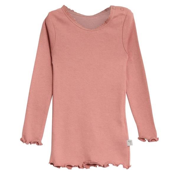 Bilde av Wheat rib lace genser til barn, soft rouge