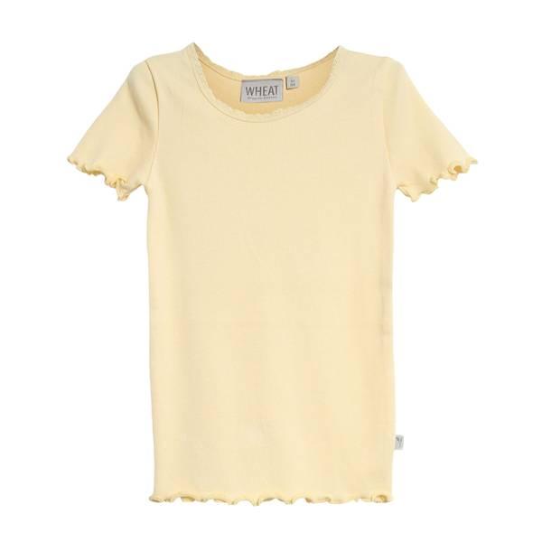 Bilde av Wheat ribb lace t-skjorte til barn, lemon curd